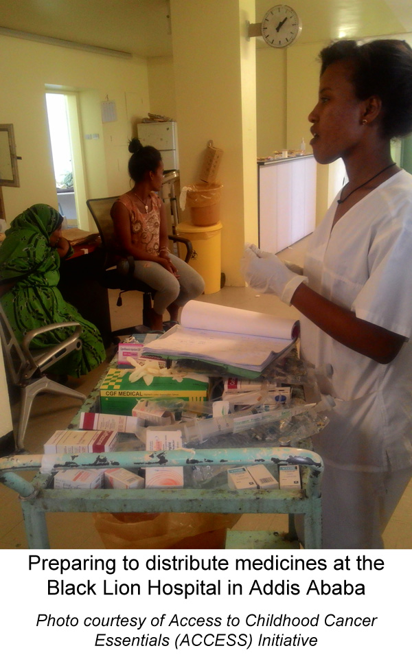 Preparing to distribute medicines at the Black Lion Hospital in Addis Ababa