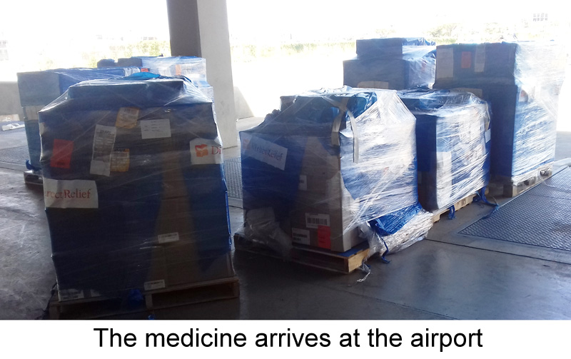 The medicine arrives at the airport